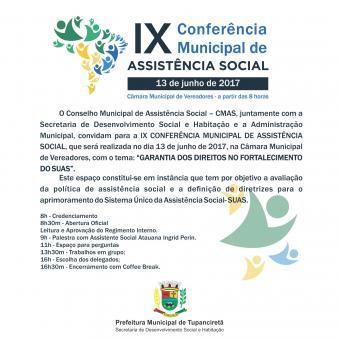 Conferência Municipal de Assistência Social acontece dia 13 de junho