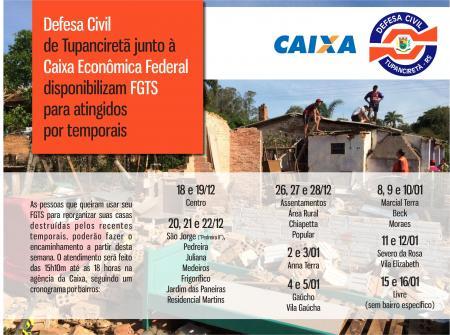 Defesa Civil de Tupanciretã junto à Caixa Econômica Federal disponibilizam FGTS para reconstruções