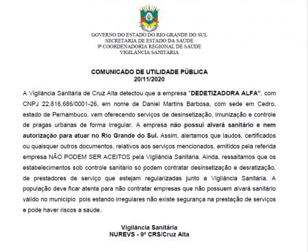Vigilância Sanitária alerta sobre empresa irregular de desinsetização