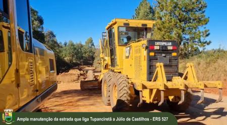 🚧Ampla manutenção da estrada que liga Tupanciretã a Júlio de Castilhos.